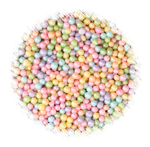 Mini Pastel Rainbow Sugar Pearls: 3mm | www.bakerspartyshop.com