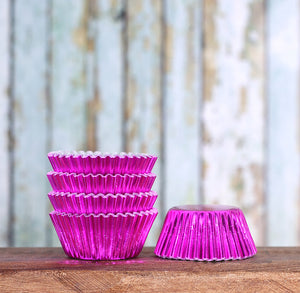 Bulk Mini Foil Cupcake Liners: Pink - 1,000 Count | www.bakerspartyshop.com