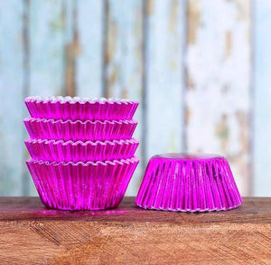 Mini Foil Pink Cupcake Liners | www.bakerspartyshop.com