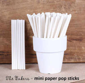 Mini White Paper Lollipop Sticks: 3.75"