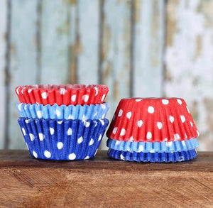 Mini Preppy 4th of July Cupcake Liners: Polka Dot | www.bakerspartyshop.com