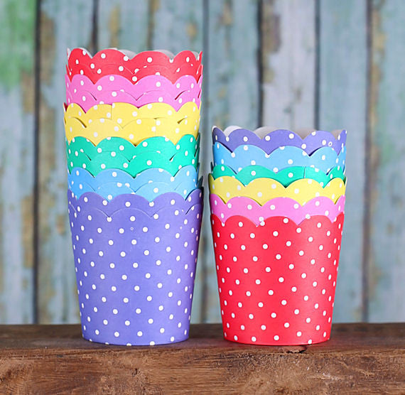 Mini Rainbow Baking Cups | www.bakerspartyshop.com