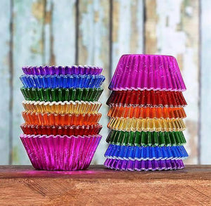 Mini Foil Rainbow Cupcake Liners | www.bakerspartyshop.com