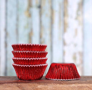 Bulk Mini Foil Red Cupcake Liners | www.bakerspartyshop.com
