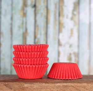 Bulk Mini Red Cupcake Liners: Solid | www.bakerspartyshop.com