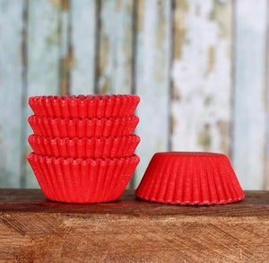 Mini Red Cupcake Liners: Solid | www.bakerspartyshop.com