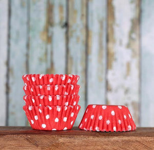 Bulk Mini Red Cupcake Liners: Polka Dot | www.bakerspartyshop.com