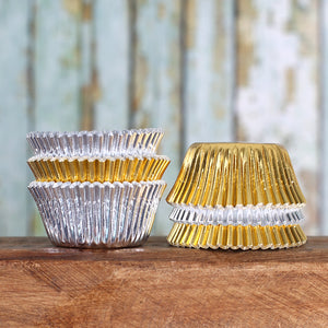 Mini Foil Silver & Gold Cupcake Liners | www.bakerspartyshop.com