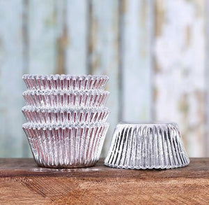 Mini Foil Silver Cupcake Liners | www.bakerspartyshop.com