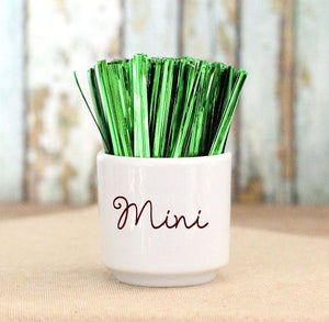 "Mini Metallic Green Twist Ties (3"") 