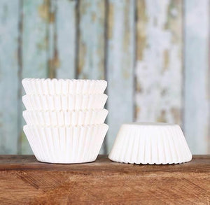 Mini White Cupcake Liners | www.bakerspartyshop.com