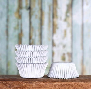 Bulk Mini Foil White Cupcake Liners | www.bakerspartyshop.com