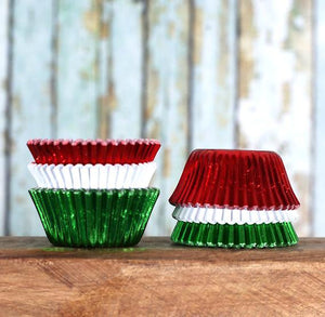 Mini Foil Christmas Cupcake Liners | www.bakerspartyshop.com