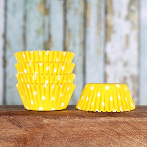 Mini Yellow Cupcake Liners: Polka Dot | www.bakerspartyshop.com
