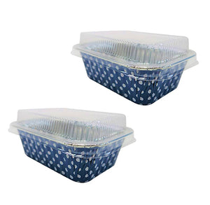 Mini Foil Loaf Pans with Lids: Polka Dot Navy | www.bakerspartyshop.com
