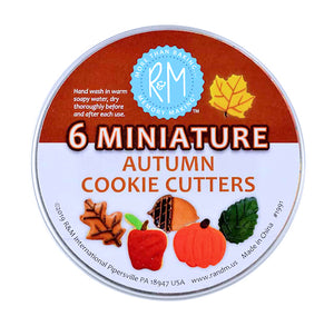 Mini Fall Cookie Cutters Set in Tin | www.bakerspartyshop.com