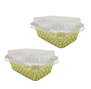 Mini Foil Loaf Pans with Lids: Polka Dot Lime | www.bakerspartyshop.com