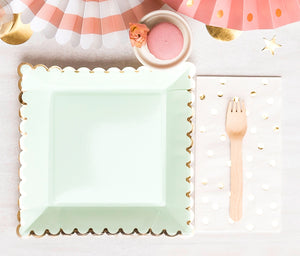 Large Mint and Gold Plates | www.bakerspartyshop.com