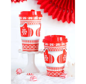 Christmas Travel Coffee Cups: Mittens + Sweater | www.bakerspartyshop.com