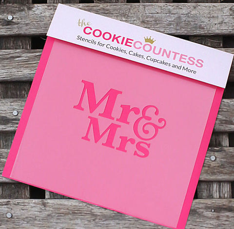 Mr & Mrs Cookie Stencil | www.bakerspartyshop.com