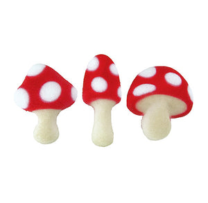 Red Mushroom Sugar Toppers | www.bakerspartyshop.com