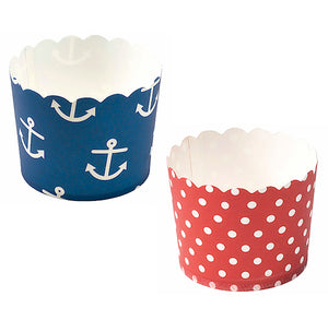 Nautical Baking Cups: Anchors + Dots | www.bakerspartyshop.com