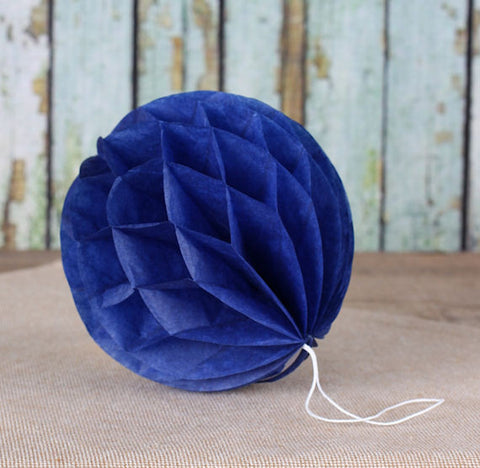 Navy Blue Honeycomb Tissue Balls: 3"