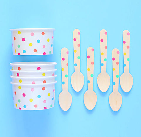 Party Pastel Rainbow Ice Cream Cups: Polka Dot | www.bakerspartyshop.com