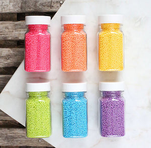 Bright Rainbow Shimmer Nonpareil Sprinkles Set | www.bakerspartyshop.com