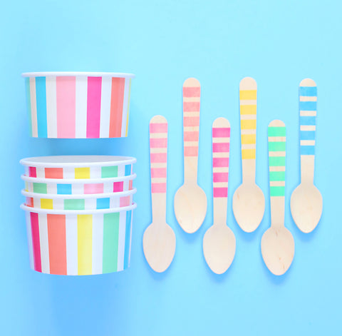 Party Pastel Rainbow Ice Cream Cups: Stripe | www.bakerspartyshop.com