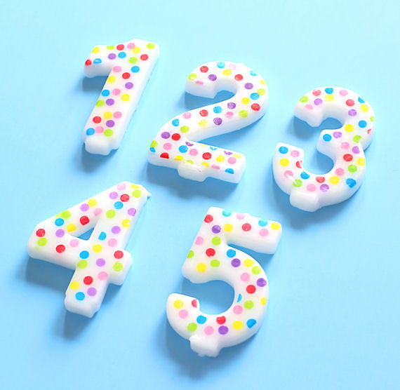Number Birthday Candles: Rainbow Polka Dot | www.bakerspartyshop.com