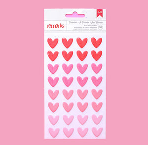 Ombre Pink Puffy Heart Stickers | www.bakerspartyshop.com