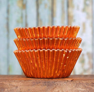 Foil Orange Cupcake Liners | www.bakerspartyshop.com