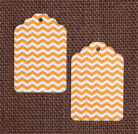 Orange Gift Tags: Chevron | www.bakerspartyshop.com