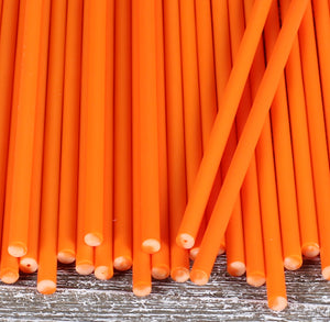 Orange Lollipop Sticks: 6"
