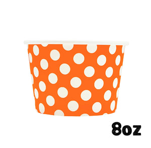 Large Orange Ice Cream Cups: Polka Dot | www.bakerspartyshop.com