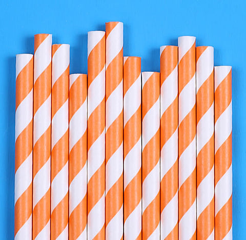Orange Paper Straws: Stripe | www.bakerspartyshop.com