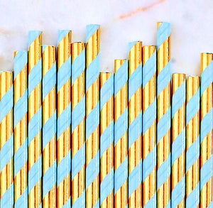 Light Blue & Gold Foil Paper Straws: Stripe | www.bakerspartyshop.com