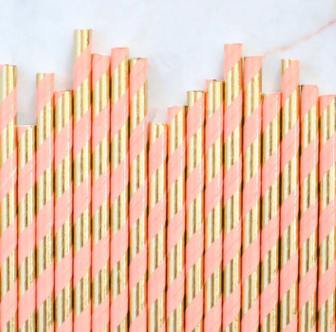 Coral & Gold Foil Paper Straws: Stripe | www.bakerspartyshop.com