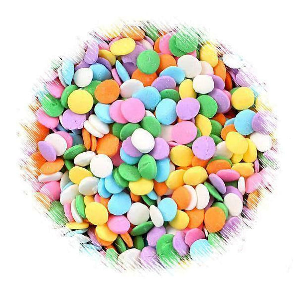 Pastel Rainbow Polka Dot Quin Sprinkles | www.bakerspartyshop.com