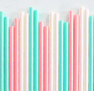 Iridescent Pastel Papers Straws | www.bakerspartyshop.com