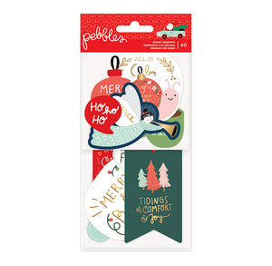 Pebbles Christmas Gift Tags + Ephemera with Sayings | www.bakerspartyshop.com