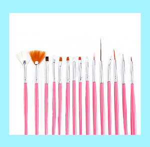Pink Fine Tip Paint Brush Set: 15 Piece | www.bakerspartyshop.com