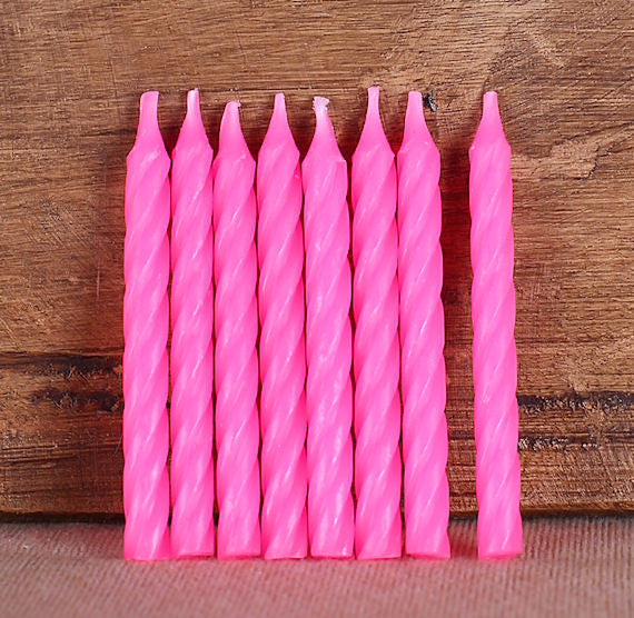 Spiral Pink Birthday Candles | www.bakerspartyshop.com