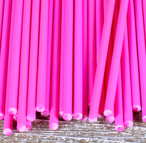 Pink Lollipop Sticks: 6"