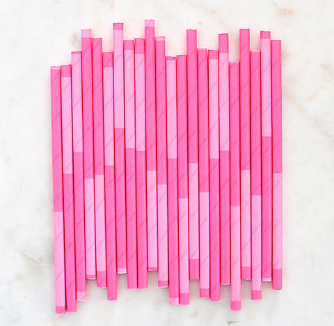 Pink Paper Cocktail Straws: Two Tone | www.bakerspartyshop.com