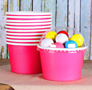 Large Pink Ice Cream Cups: 8oz | www.bakerspartyshop.com