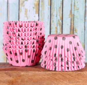 Bubblegum Pink Cupcake Liners: Brown Polka Dots | www.bakerspartyshop.com