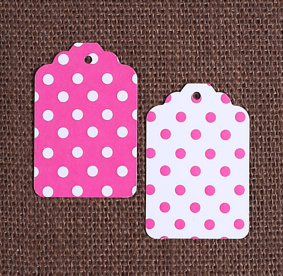 Pink Gift Tags: Polka Dot   www.bakerspartyshop.com