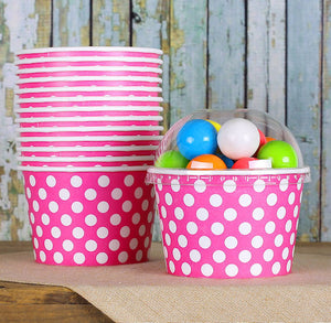 Large Bright Pink Ice Cream Cups: Polka Dot | www.bakerspartyshop.com